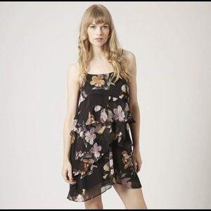Topshop Black Floral Ruffle Mini Dress Size 2